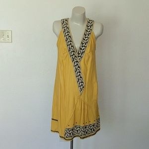 Bohemian embroidered asymmetric v neck dress